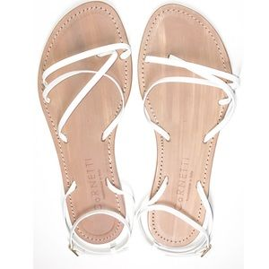 Cornetti Lipari White Italian Leather Strap Sandal